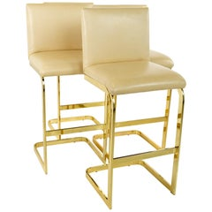 Milo Baughman Style Mid Century Brass and Cream Upholstered Cantilever Bar Stool