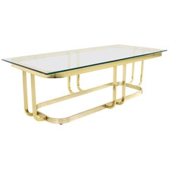 Milo Baughman Style Mid Century Brass and Glass Coffee Table