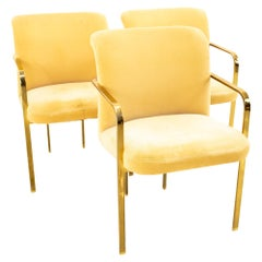 Milo Baughman Style Mid Century Brass Dining Chairs, Set of 3