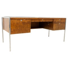 Milo Baughman Style Midcentury Burl Wood and Chrome Executive Desk