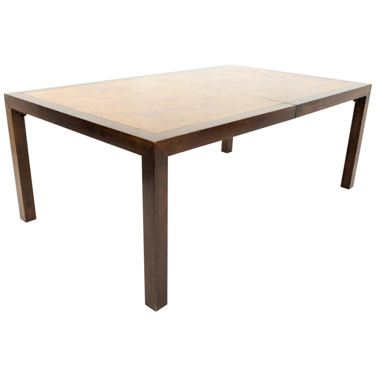 Milo Baughman Style Midcentury Burl Wood Dining Table For Sale