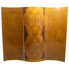 Milo Baughman Style Midcentury Burl Wood Room Divider