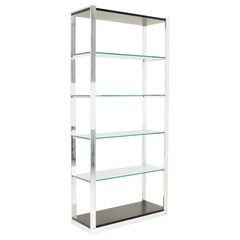 Milo Baughman Style Mid Century Chrome and Glass Shelf