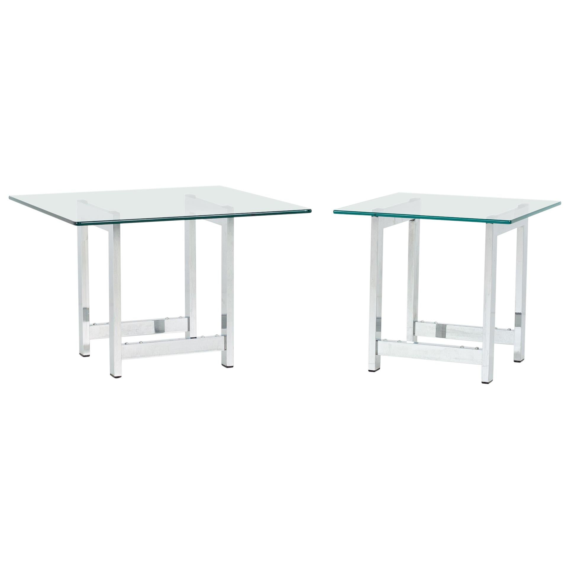 Milo Baughman Style Mid Century Chrome and Glass Side End Tables, Pair
