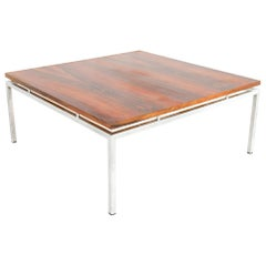 Milo Baughman Style Mid Century Chrome and Rosewood Square Coffee Table