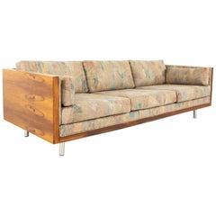 Milo Baughman Style Mid Century Rosewood Case Sofa