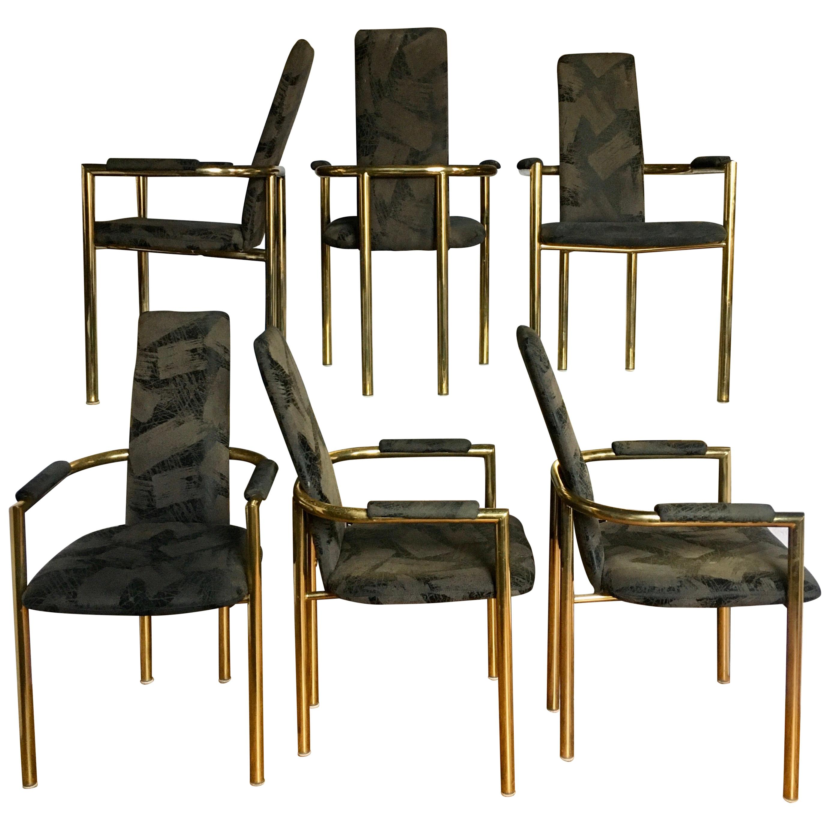 Milo Baughman Style Modern Tubular Brass Dining Chairs by Cal-Style, Set of 6