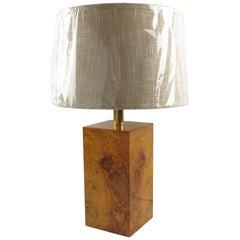 Milo Baughman Style Modernist Burl Maple Wood Table Lamp