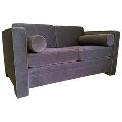 Milo Baughman Style New Original Gray / Taupe Mohair Wool Tuxedo Love Seat Sofa
