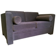 Milo Baughman Style New Original Gray / Taupe Mohair Wool Tuxedo Love Seat Sofa