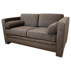 Milo Baughman Style New Original Gray / Taupe Mohair Wool Tuxedo Loveseat Sofa