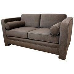 Milo Baughman Style New Original Gray or Taupe Mohair Wool Tuxedo Loveseat Sofa