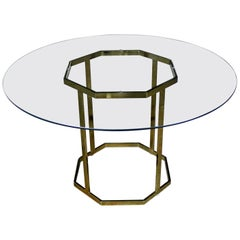 Milo Baughman Style Octagon Brass-Plated Metal Dining Table with Round Glass Top