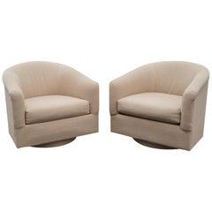 Milo Baughman Style Pair of Swivel Barrel Chairs