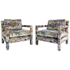 Milo Baughman Style Parsons Chairs in Beata Heuman Marbleized Velvet