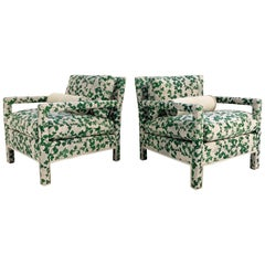 """Milo Baughman Style Parsons Chairs Restored in Stevie Howell """"Brambles"""""""