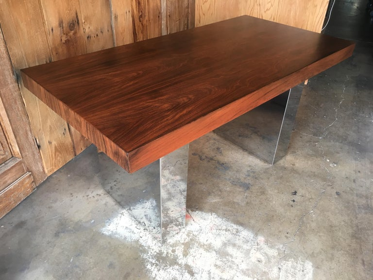 Milo Baughman Style Rosewood and Chrome Table / Desk  For Sale 5