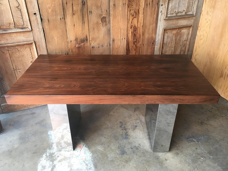 Milo Baughman Style Rosewood and Chrome Table / Desk  For Sale 7