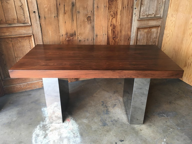 Milo Baughman Style Rosewood and Chrome Table / Desk  For Sale 8