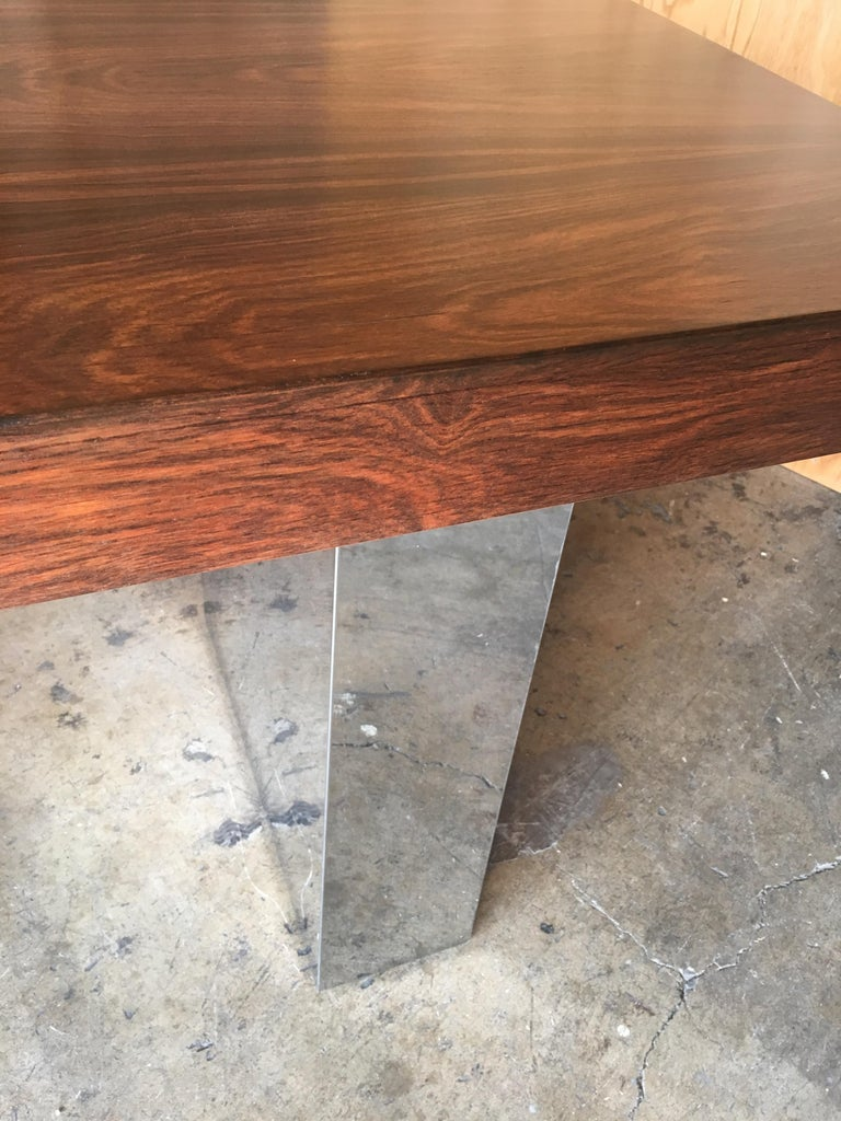 Milo Baughman Style Rosewood and Chrome Table / Desk  For Sale 9