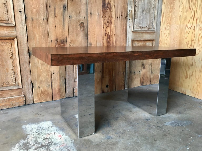 Milo Baughman Style Rosewood and Chrome Table / Desk  For Sale 10
