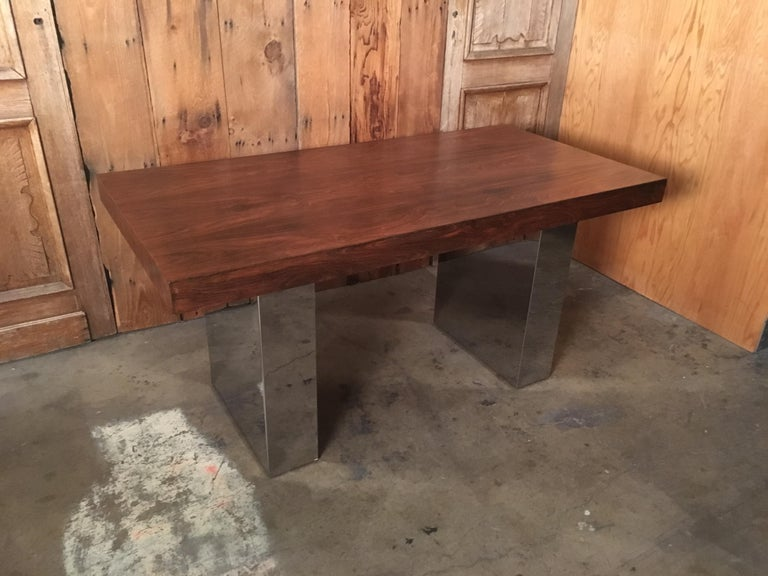 Milo Baughman Style Rosewood and Chrome Table / Desk  For Sale 11