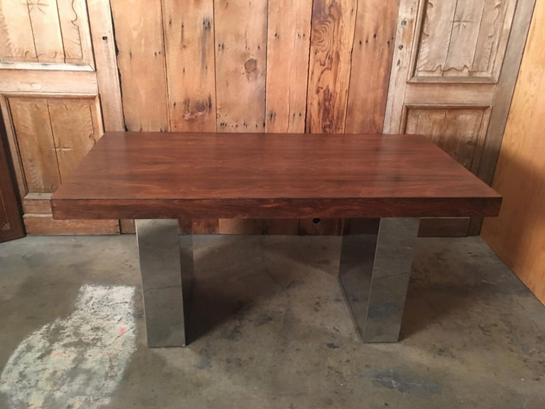 Milo Baughman Style Rosewood and Chrome Table / Desk  For Sale 12