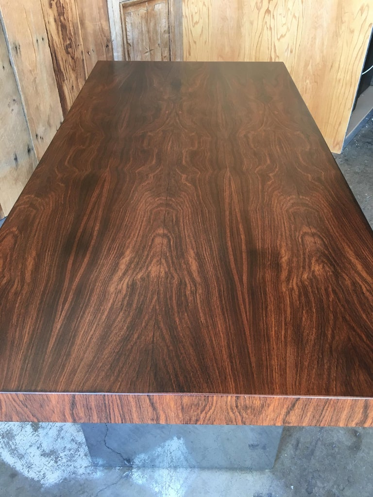 Mid-Century Modern Milo Baughman Style Rosewood and Chrome Table / Desk  For Sale