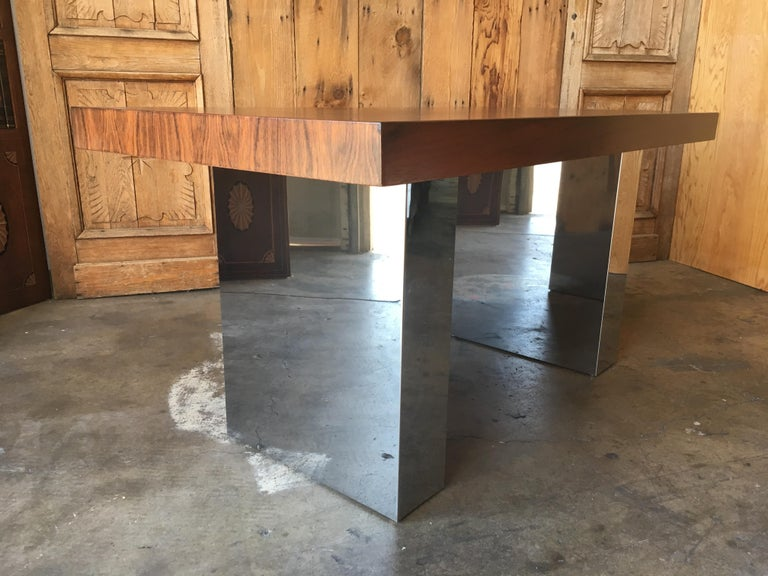 North American Milo Baughman Style Rosewood and Chrome Table / Desk  For Sale