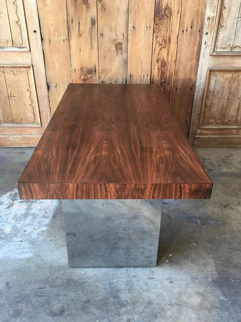 Milo Baughman Style Rosewood and Chrome Table / Desk  In Good Condition For Sale In Laguna Hills, CA