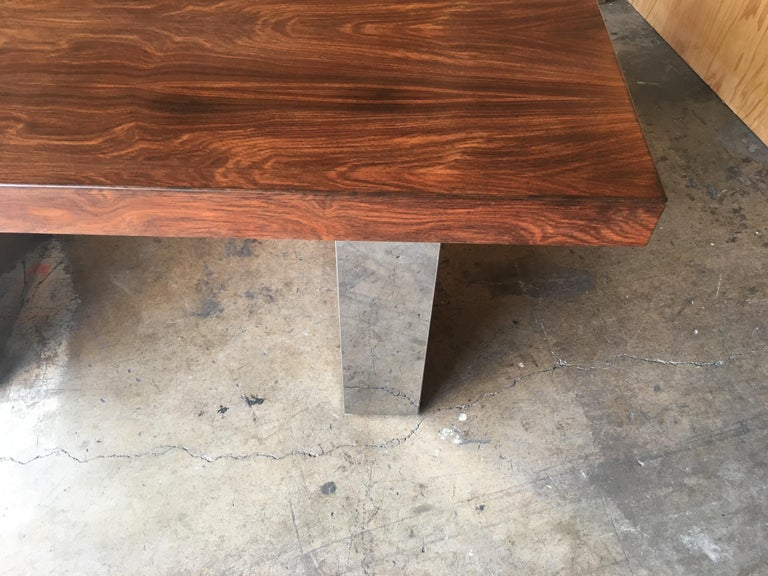 20th Century Milo Baughman Style Rosewood and Chrome Table / Desk  For Sale