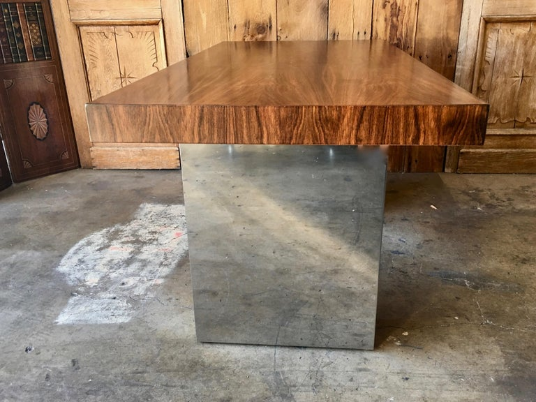 Milo Baughman Style Rosewood and Chrome Table / Desk  For Sale 1