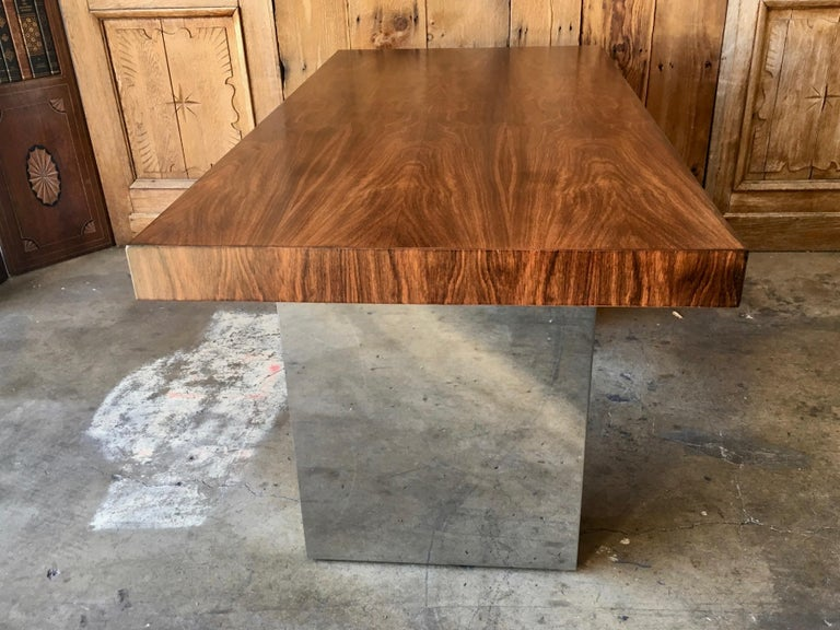 Milo Baughman Style Rosewood and Chrome Table / Desk  For Sale 2