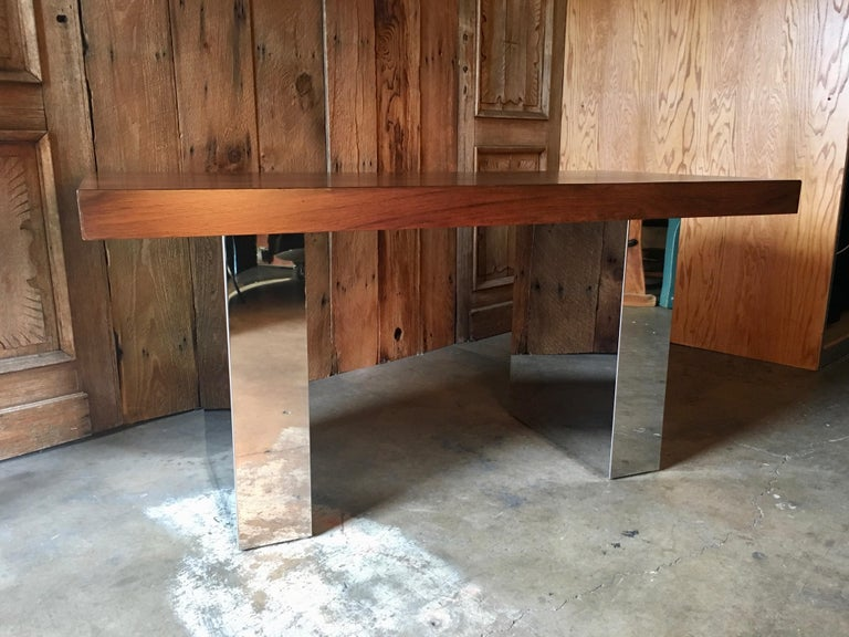 Milo Baughman Style Rosewood and Chrome Table / Desk  For Sale 3