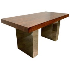 Milo Baughman Style Rosewood and Chrome Table or Desk