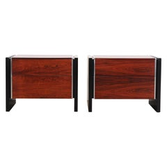Milo Baughman Style Rosewood Bedside Tables, 1970