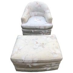 Milo Baughman Style Swivel Club Chair and Ottoman