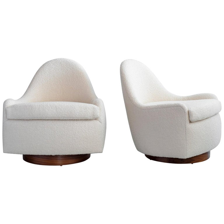 "Milo Baughman Style Swivel ""Tub"" Chairs For Sale"