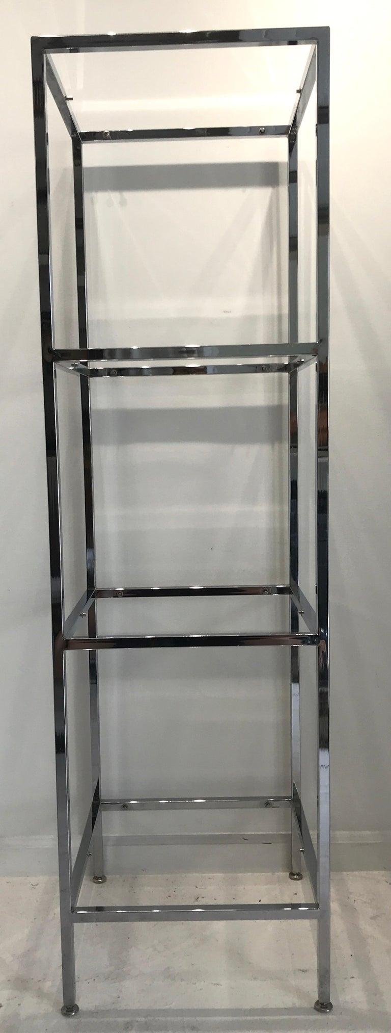 American Milo Baughman Style Tall Chrome and Glass Column Étagère For Sale