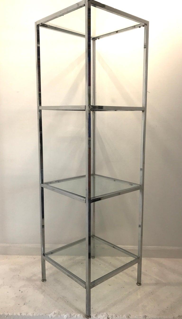 Polished Milo Baughman Style Tall Chrome and Glass Column Étagère For Sale