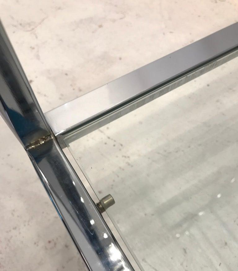 20th Century Milo Baughman Style Tall Chrome and Glass Column Étagère For Sale