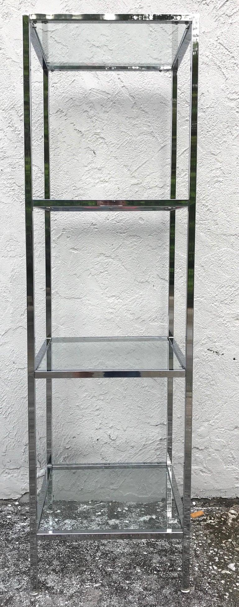 Milo Baughman Style Tall Chrome and Glass Column Étagère For Sale 1
