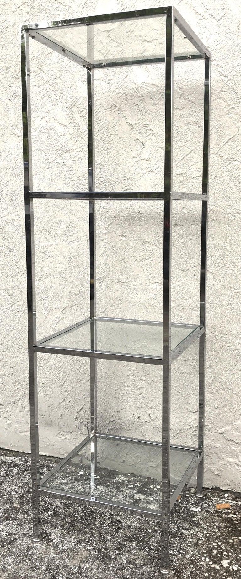 Milo Baughman Style Tall Chrome and Glass Column Étagère For Sale 2