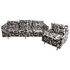 Milo Baughman Style Tuxedo Sofa and Club Chair in Custom Fabric