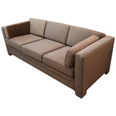 Milo Baughman Style Upholstered in a Mink Brown Mohair 3-Seat Tuxedo Sofa