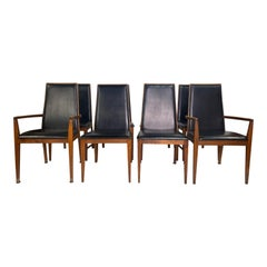Milo Baughman Style Walnut Dining Chairs by Dillingham, Set of 8