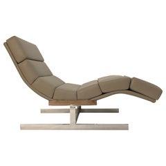 Milo Baughman Style Wave Chaise