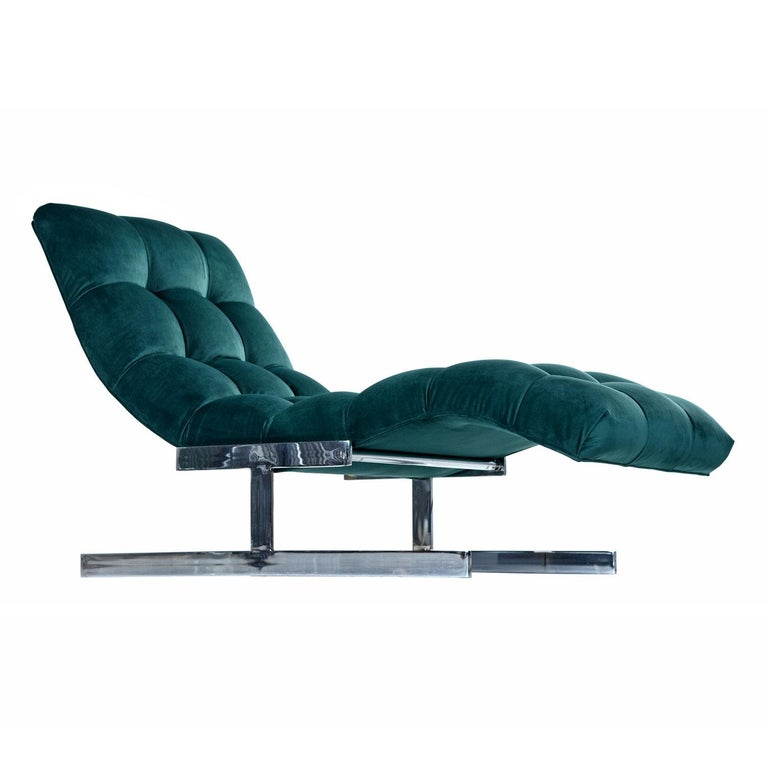 New Forest Green Velvet Milo Baughman Style Wave Chaise Lounge by Carsons 3