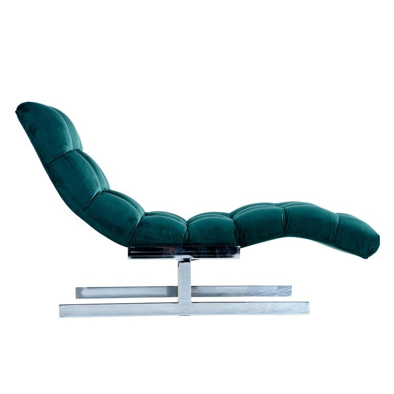 New Forest Green Velvet Milo Baughman Style Wave Chaise Lounge by Carsons 4