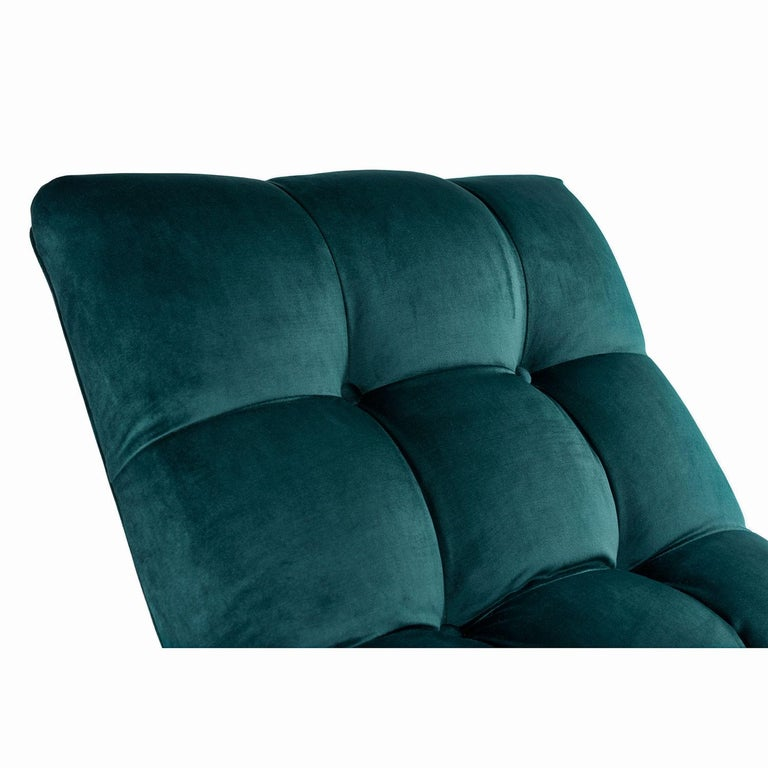 New Forest Green Velvet Milo Baughman Style Wave Chaise Lounge by Carsons 5